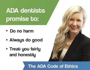 Dr. Kathryn Alderman's ADA Code of Ethics help for dental anxiety in Lincoln NE