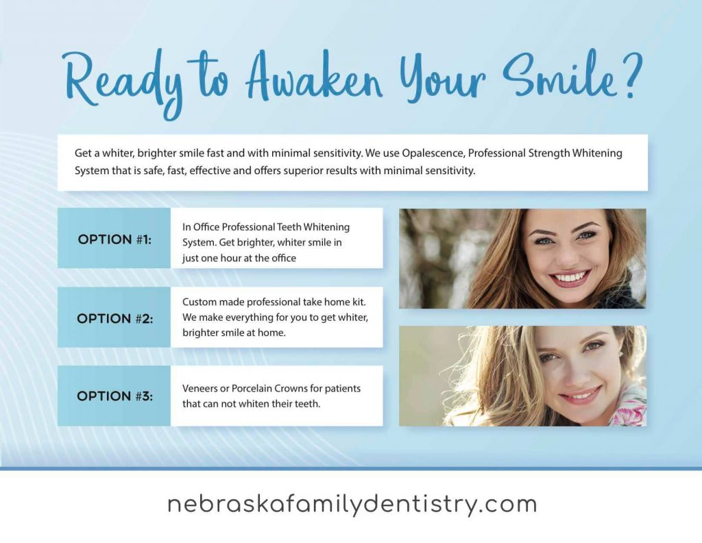 Image of a banner showing the top teeth whitening options in Lincoln, NE at Nebraska Family Dentistry.