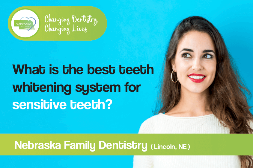 """Image of a banner asking what is the """"best teeth whitening system for sensitive teeth?"""""""