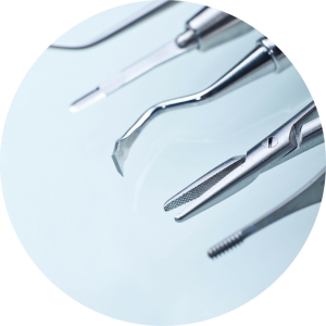 dental tools and embarrassed patient dentist for dental anxiety