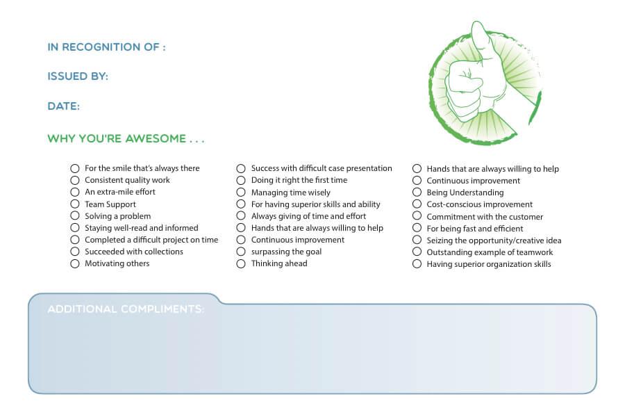 Back side of fish card for Wellness program in dentistry
